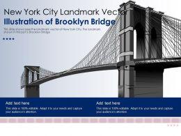New York City Landmark Vector Illustration Of Brooklyn Bridge Ppt Template