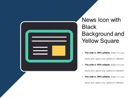 News Icon With Black Background And Yellow Square