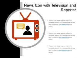 News Icon With Television And Reporter