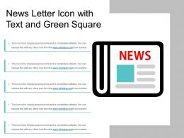 News Letter Icon With Text And Green Square