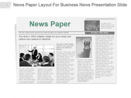 News Paper Layout For Business News Presentation Slide