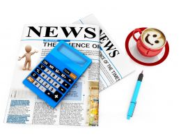 News Paper With Coffee And Book Pen Stock Photo