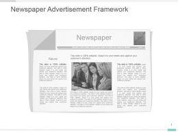Newspaper Advertisement Framework Ppt Design