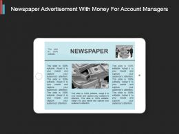 Newspaper Advertisement With Money For Account Managers Ppt Slide