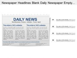 Newspaper Headlines Blank Daily Newspaper Empty Space Text Pictures