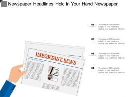 Newspaper Headlines Hold In Your Hand Newspaper