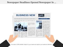 Newspaper Headlines Opened Newspaper In Businessman Hands