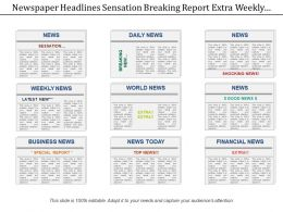 Newspaper Headlines Sensation Breaking Report Extra Weekly World
