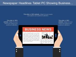 Newspaper Headlines Tablet Pc Showing Business News