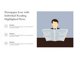 Newspaper Icon With Individual Reading Highlighted News