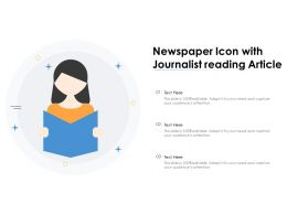 Newspaper Icon With Journalist Reading Article