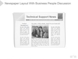 Newspaper Layout With Business People Discussion Presentation Sample