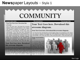 Newspaper Layouts Style 1 Powerpoint Presentation Slides DB