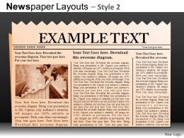 Newspaper Layouts Style 2 Powerpoint Presentation Slides DB