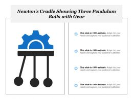 Newtons Cradle Showing Three Pendulum Balls With Gear