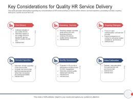 Next Generation HR Service Delivery Key Considerations For Quality HR Service Delivery Ppt Tips