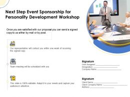 Next Step Event Sponsorship For Personality Development Workshop Ppt Layout