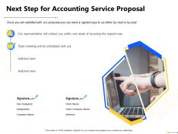 Next Step For Accounting Service Proposal Team Meeting Ppt Powerpoint Presentation File