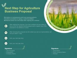 Next Step For Agriculture Business Proposal Ppt Powerpoint Presentation Gallery Tips