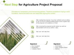 Next Step For Agriculture Project Proposal Ppt Powerpoint Presentation Layouts