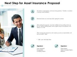 Next Step For Asset Insurance Proposal Ppt Powerpoint Presentation Portfolio