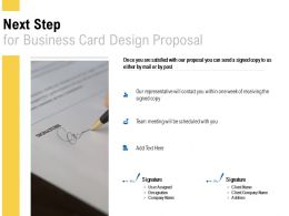 Next Step For Business Card Design Proposal Ppt Powerpoint Presentation Slides Model