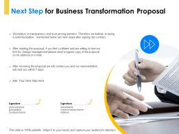 Next Step For Business Transformation Proposal Ppt Powerpoint Elements