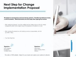 Next Step For Change Implementation Proposal Ppt Powerpoint Grid