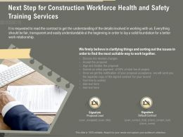 Next Step For Construction Workforce Health And Safety Training Services Ppt Ideas
