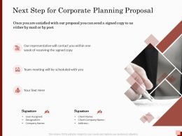 Next Step For Corporate Planning Proposal Ppt Powerpoint Presentation Diagrams