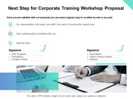 Next Step For Corporate Training Workshop Proposal Ppt Powerpoint Presentation Pictures