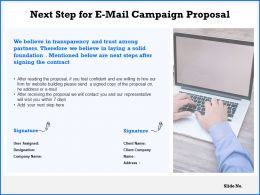 Next Step For E Mail Campaign Proposal Ppt Powerpoint Presentation Icon Backgrounds