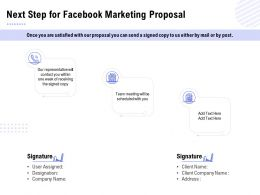 Next Step For Facebook Marketing Proposal Ppt Powerpoint Presentation Infographic Template Clipart
