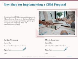 Next Step For Implementing A CRM Proposal Ppt Powerpoint Presentation File