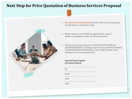 Next Step For Price Quotation Of Business Services Proposal Ppt Clipart