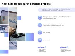 Next Step For Research Services Proposal Ppt Powerpoint Presentation Template