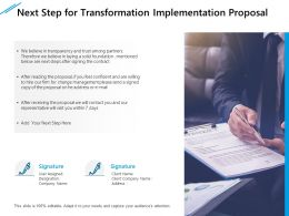 Next Step For Transformation Implementation Proposal Ppt Infographic