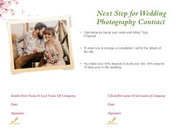 Next Step For Wedding Photography Contract Ppt Powerpoint Presentation Examples