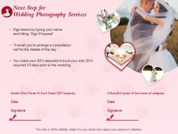Next Step For Wedding Photography Services Ppt Powerpoint Presentation Pictures