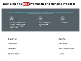 Next Step You Tube Promotion And Handing Proposal Ppt Powerpoint Design