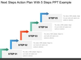 Next Steps Action Plan With 5 Steps Ppt Example