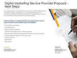 Next Steps Digital Marketing Service Provider Proposal Ppt Powerpoint Presentation Styles