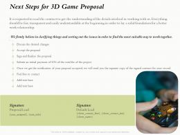 Next Steps For 3D Game Proposal Ppt Powerpoint Presentation Model Files