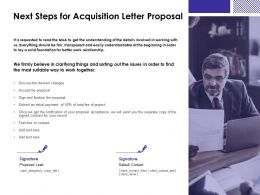 Next Steps For Acquisition Letter Proposal Agenda Ppt Presentation Slides