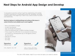 Next Steps For Android App Design And Develop Ppt Powerpoint Presentation Show Guidelines