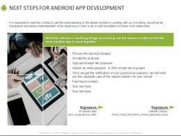 Next Steps For Android App Development Ppt Powerpoint Presentation File Icon