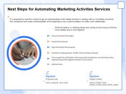 Next Steps For Automating Marketing Activities Services Ppt Topics