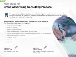 Next Steps For Brand Advertising Consulting Proposal Ppt Powerpoint Gallery