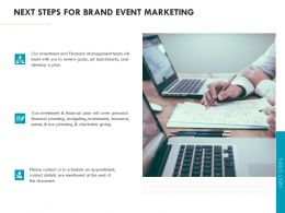 Next Steps For Brand Event Marketing Ppt Powerpoint Presentation Outline Display