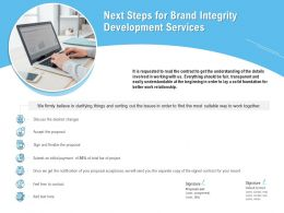 Next Steps For Brand Integrity Development Services Ppt Powerpoint Presentation Styles